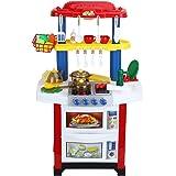 Virhuck 33pcs Giocattoli da Cucina per Bambini, 62*36*83cm,con Acqua Reale,Effetti Luce e Sonori Cucina Elettronica Ruolo di Cucina Pretend Gioca Toy Set Regalo per Bambini Regali di Natale - Rosso