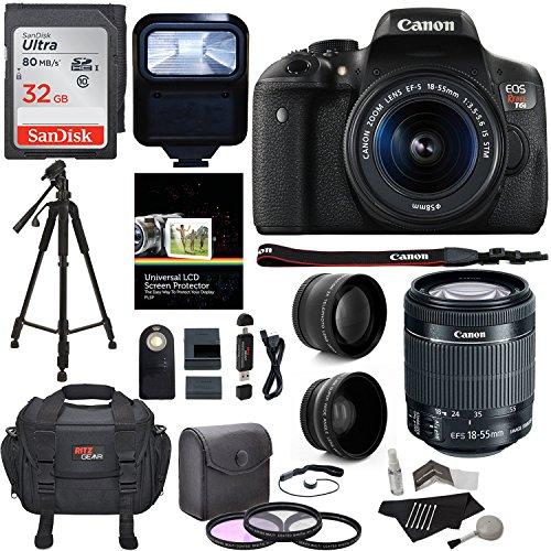 Canon EOS Rebel T6i Digital SLR Camera + EF-S 18-55mm IS STM Lens + Polaroid HD .43x Wide Angle & 2.2X Telephoto Lens + 32GB Memory Card + Tripod + 58mm Filter Kit + Canon Bag + Accessory Bundle by Ritz Camera