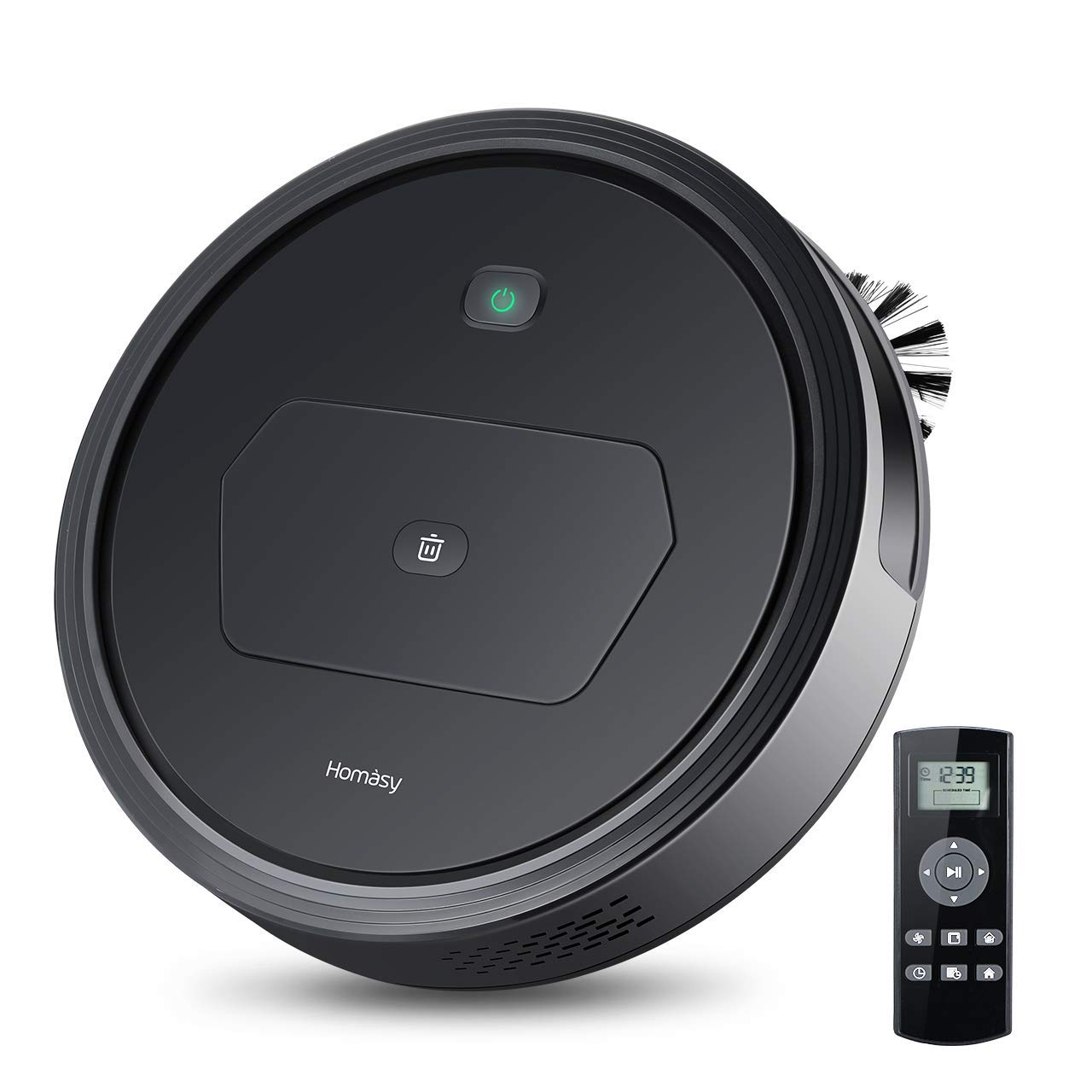 Black Homasy Self-Charging Robot Vacuum Cleaner with 1500PA Max Power Suction with HEPA Filter, 4 Modes Cleaning for Pet Hair, Carpets, Hard Floors(Black)