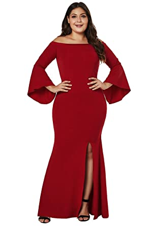 4aafe12324f FUSENFENG Womens Plus Size Off Shoulder Bodycon Slit Long Party Evening  Dress Gown at Amazon Women s Clothing store