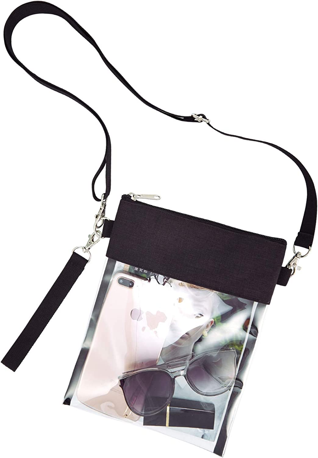 GreenPine Clear Crossbody Purse Bag - NFL,NCAA Stadium Approved Clear Tote Bag with Adjustable Shoulder Strap