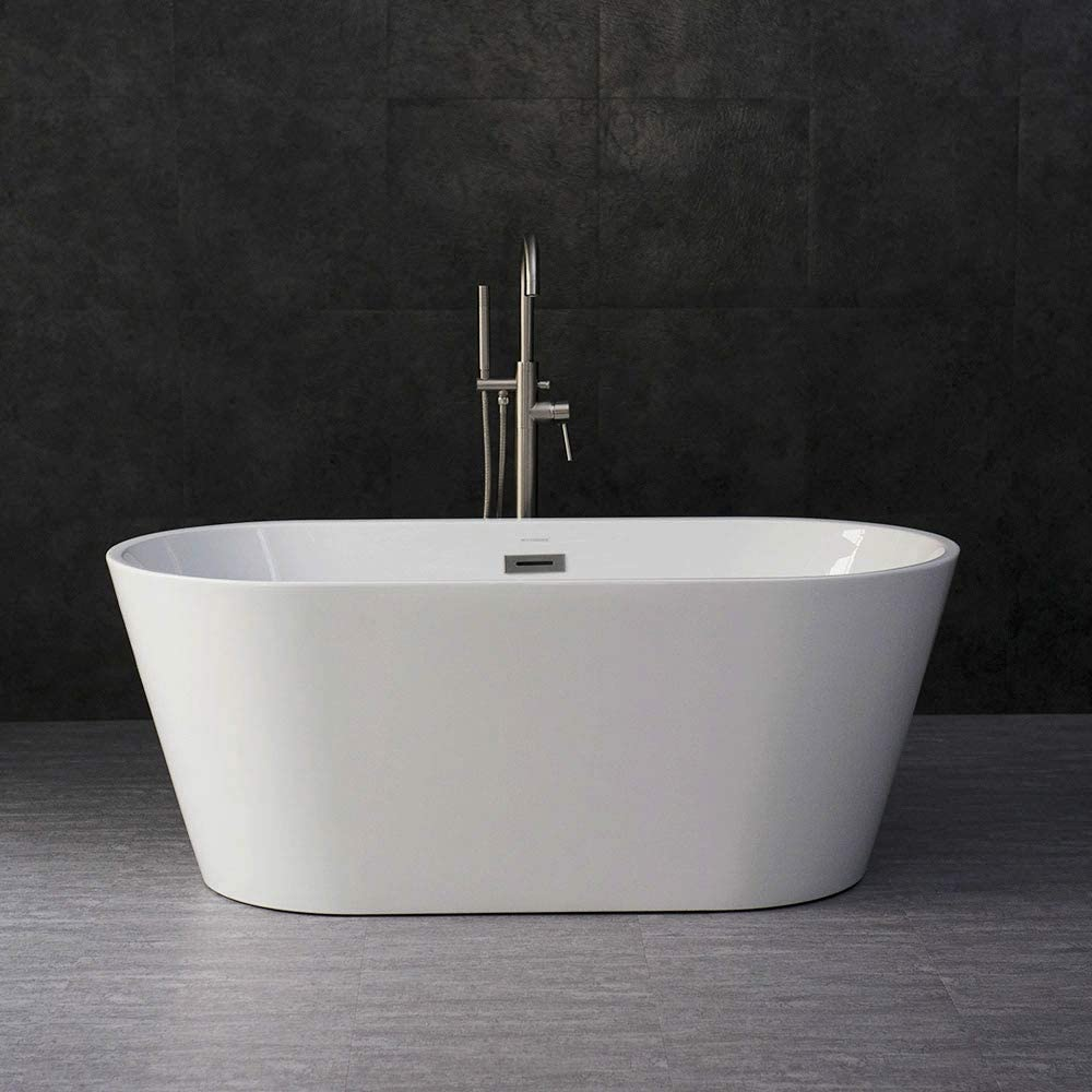 WOODBRIDGE 59 Acrylic Freestanding Bathtub Contemporary Soaking Tub with Brushed Nickel Overflow and Drain, B-0014 BTA1514
