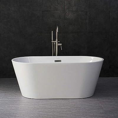 "WOODBRIDGE Acrylic Freestanding Bathtub Contemporary Soaking Tub Overflow and Drain, 59"" B-0014-C Chrome"