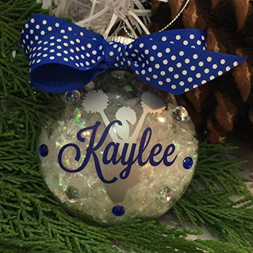 Personalized Ornament Name (Cheerleader with PomPom Ornament Personalized with Your Name and Your Colors)