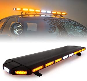 """Xprite Black Hawk 48"""" Inch Amber/Yellow Emergency Security Strobe Bar Lights, Professional Low Profile Roof Top Hazard Warning lightbar for Snow Plow Car Tow Trucks Construction Vehicle"""
