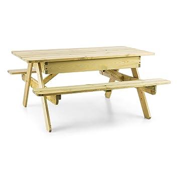 Blumfeldt Table de Jardin - Table de Jeux ou Pique Nique pour Enfants, Bac  à Sable intégré, Résistant aux intempéries, Plateau de Table Amovible, Bois  ...
