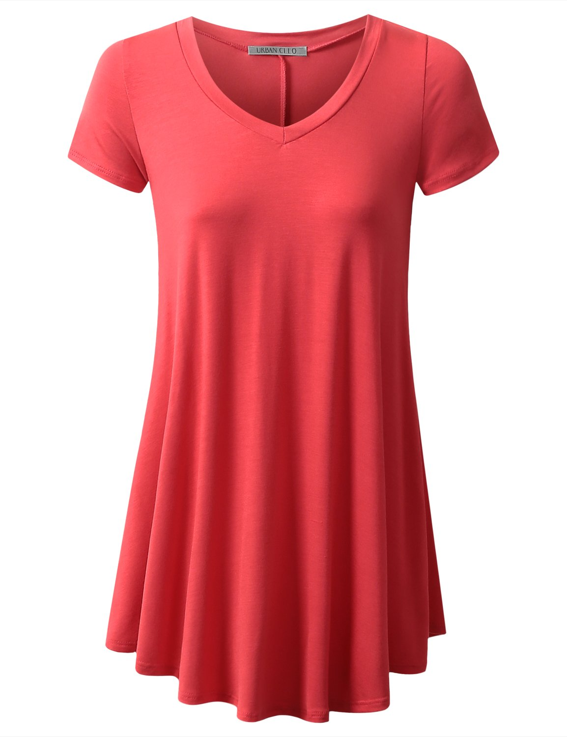 URBANCLEO Womens V-Neck Elong Tunic Top Mini T-Shirt Dress Coral XLarge