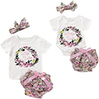 Puseky Big Sister Baby Sister Matching Outfits Floral Cycle Print Tops Tutu Shorts Headband Set