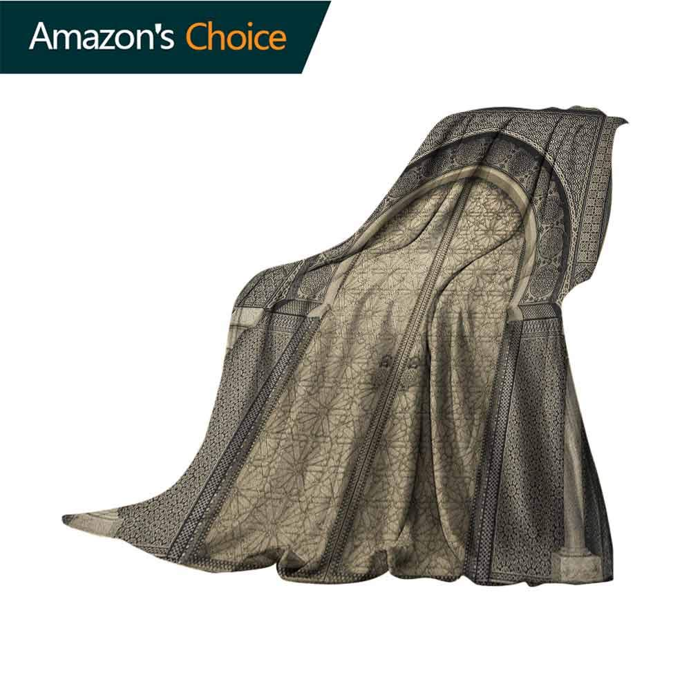 Moroccan Flannel Blanket,Aged Gate Geometric Pattern Doorway Design Entrance Architectural Oriental Style Blanket for Sofa Couch TV Bed All Season,70'' Wx90 L Sepia Black