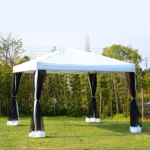 Outsunny 10' x 10' Pop Up Canopy Shelter Party Tent with Mesh Walls - White