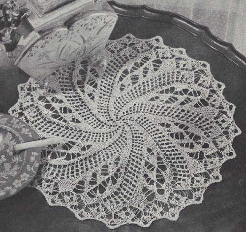 Vintage Knitting PATTERN to make - Vintage Knitted Lace Doily Centerpiece Mat Pinwheel Swirl Design. NOT a finished item. This is a pattern and/or instructions to make the item ()