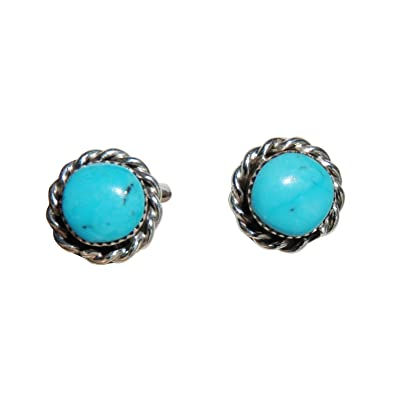 c37cb54be Amazon.com: Small Round Stabilized Turquoise Stud Earrings with Twist Wire  Border Design Original Zuni Authentic Indian Jewelry: Jewelry