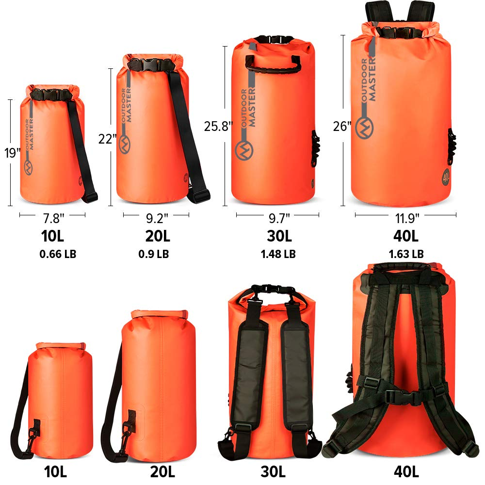 Swimming Comes with 2 Free Waterproof Cell Phone Case with Floating Strap Boating Lightweight Dry Sack for The Beach OutdoorMaster Dry Bag Kayaking Rafting Fishing Waterproof