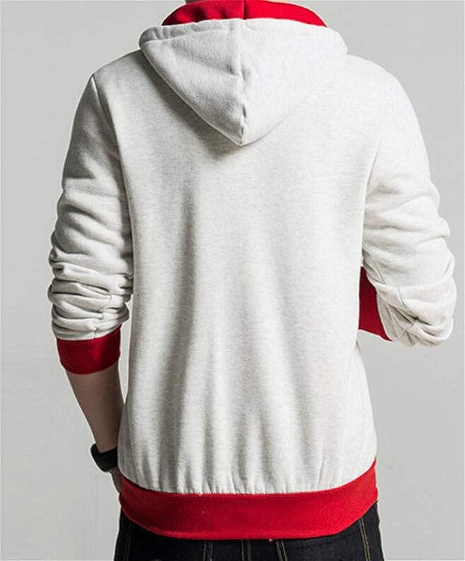 Spirio Mens Drawstring Pockets Hooded Zipper Classic Sweatshirt Jacket