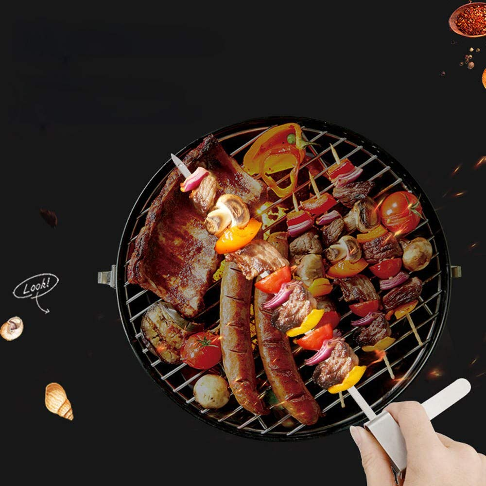Outdoor Picnic Barbecue Skewer Vegetable Appliances Stainless Steel Barbecue Label Slide Lock Design Anti-Scalding (6pcs) by Palm