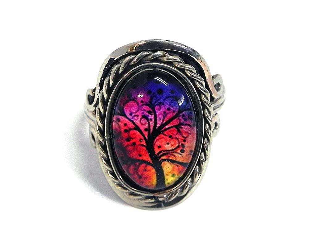 Mia Jewel Shop New Age Tree of Life Graphic Small Oval Shaped Silver Rope Edge Adjustable Ring