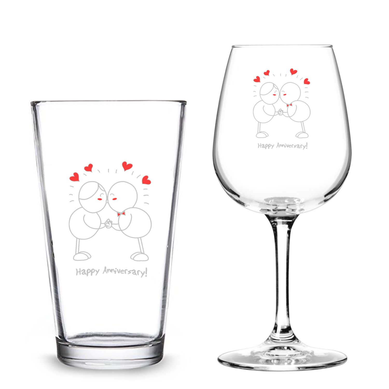 Happy Anniversary! Beer Pint and Wine Glass- Romantic Glassware Gift Set - Made in USA – Cool Present Idea for Wedding Anniversary, Married Couples, Him or Her, Mr. or Mrs.