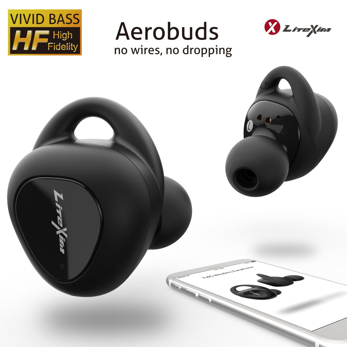 Wireless Earbuds LiteXim Aerobuds True Wireless Earbuds Bluetooth Earbuds Noise Cancelling Headphones Wireless Bluetooth Headphones In Ear Headphones Truly Wireless Earbuds Bass 3D Stereo 16H Playtime
