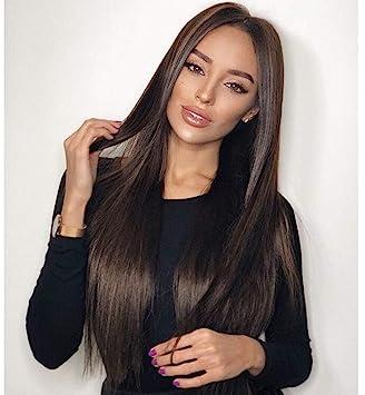 Vébonnie - Peluca con malla frontal natural negra con aspecto realista para mujer, pelo largo