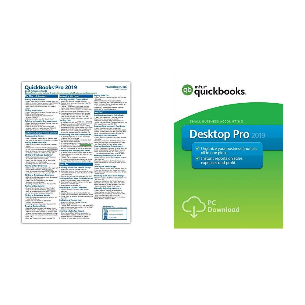 QuickBooks Desktop Pro 2019 + Quick Reference Sheet [PC Download] by Intuit