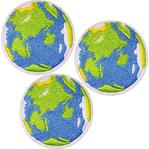 U-Sky Sew or Iron on Patches for Backpacks - Green Earth Patch for Clothes, Jeans, Jackets, Caps - Pack of 3pcs - Size: 1.9x1.9 inch (Earth Planet Patches)