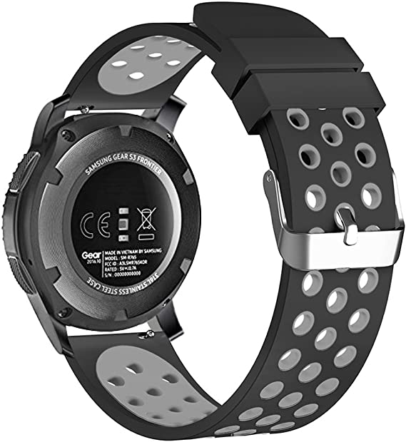 22mm Smart Watch Bands, FanTEK Silicone Sport Quick Release Watch Strap Wristband for Samsung Galaxy Watch 46mm / Gear S3 Frontier & Classic/Pebble ...