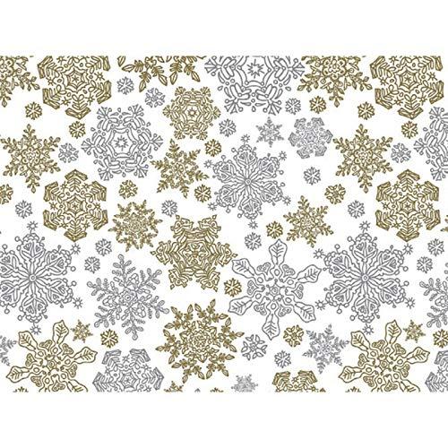 Metallic Frozen Flakes 30'' x 150' Gift Wrap Roll