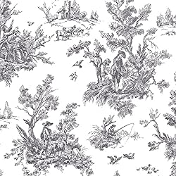 "Manhattan comfort NWAB42413 Westport Series Vinyl Irish Countryside Toile Design Large Wallpaper Roll, 20.5"" W x 32.7'L, Black/White"