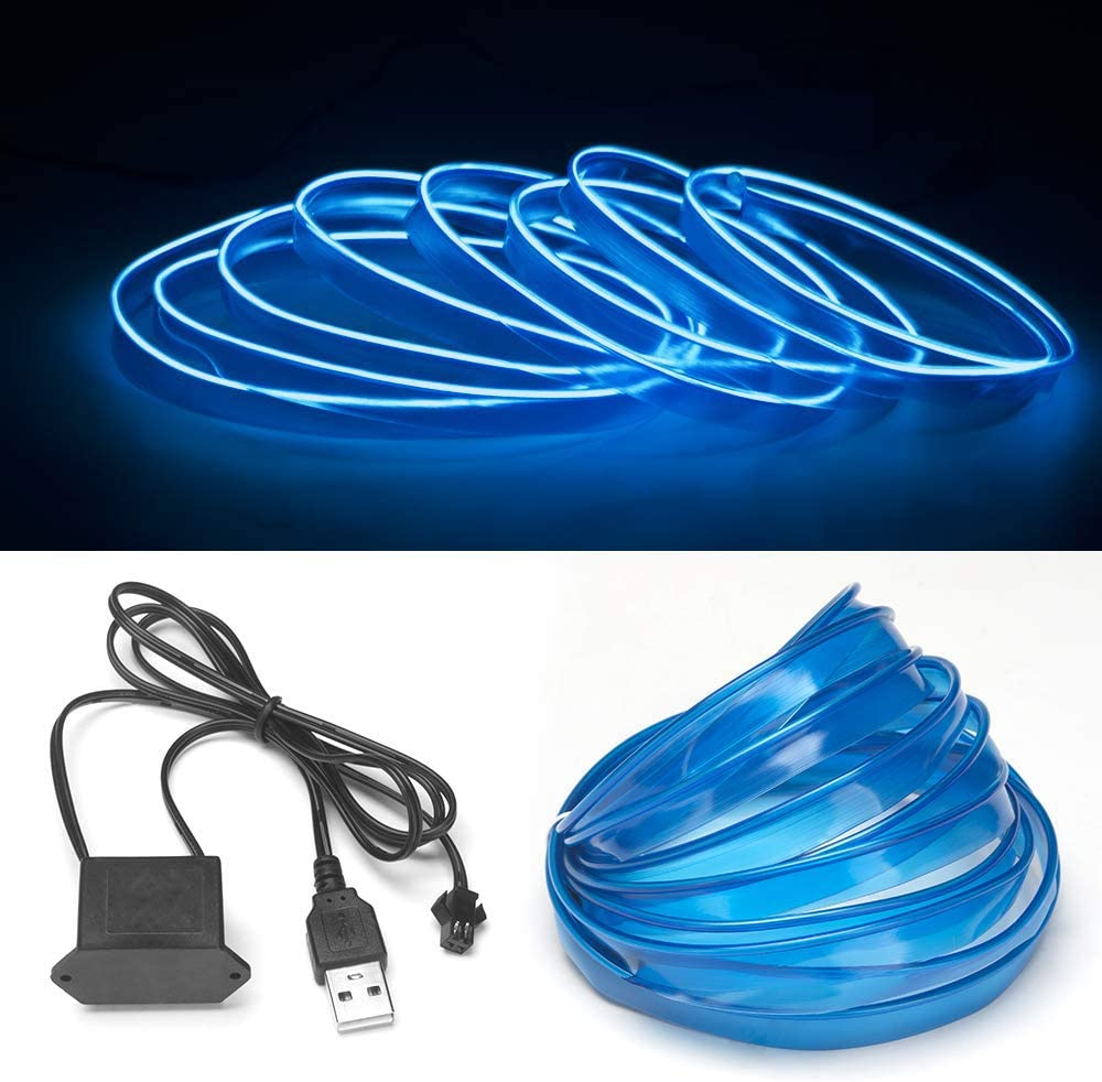 USB Neon LED Light Glowing Electroluminescent Wire//El Wire for Automotive Interior Car Cosplay Decoration with 6mm Sewing Edge 3M//9FT ice blue