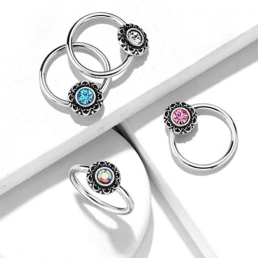 Steel Covet Jewelry Crystal Centered Filigree Captive 316L Surgical Steel Hoop Rings