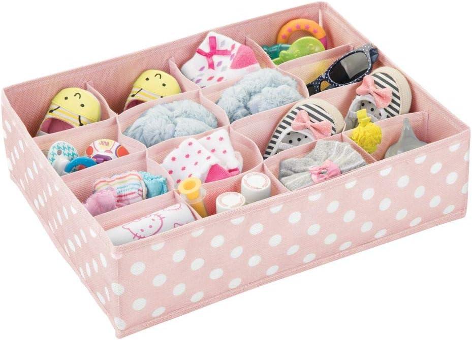 Kinderzimmer Aufbewahrungsbox mit je 16 F/ächern mDesign 2er-Set Aufbewahrungsboxen f/ür das Kinderzimmer Kinderschrank Organizer aus Kunstfaser Bad usw hellgrau//wei/ß