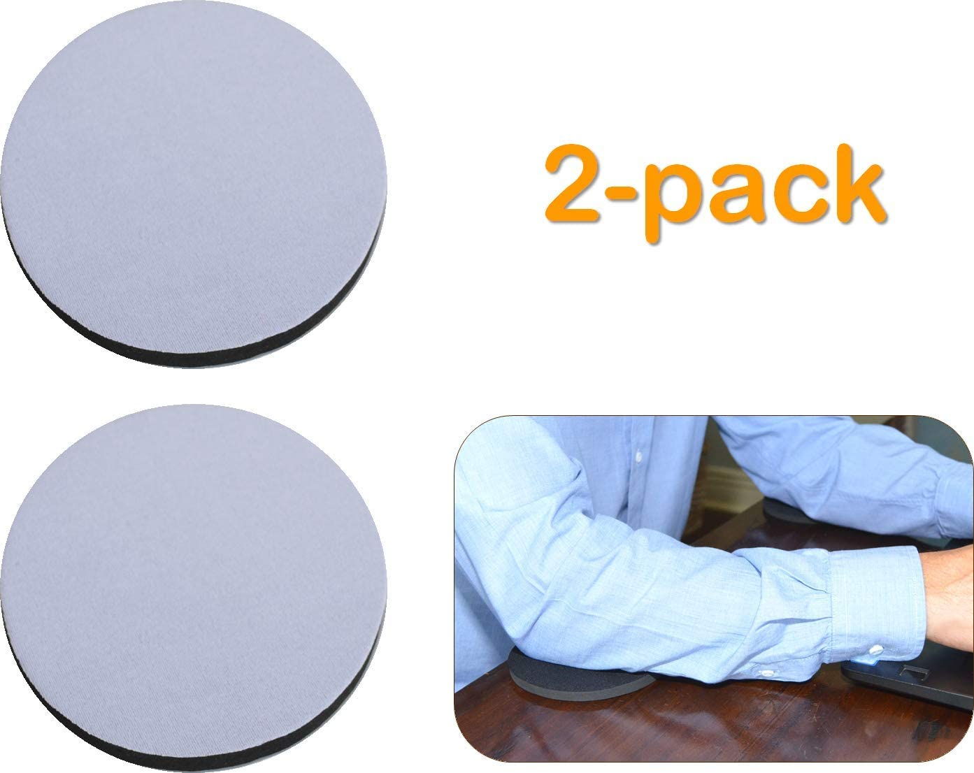 """Desk Dots! Elbow, Arm & Wrist Rest Work & Gaming Surface Cushioning Pads for Pressure Point & Pain Relief; Made of Neoprene, Soft Nylon Surface; 4.5"""" Wide, 0.3"""" Thick; 2-Pack! (Light Gray)"""