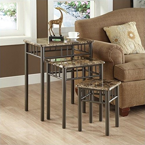 Monarch Specialties Bronze Metal Nesting Table Set with Cappuccino Marble Top, 3-Piece - 3 Piece Set Accent Table