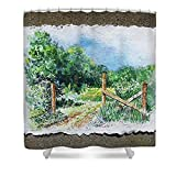 Pixels Shower Curtain (74'' x 71'') ''A Gate To The Ranch Briones Park California''