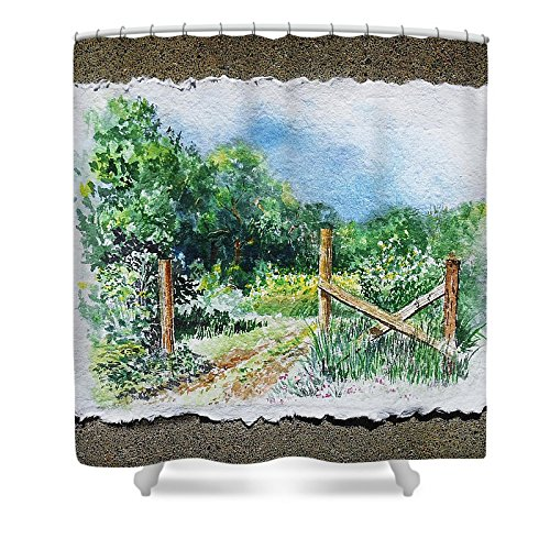 Pixels Shower Curtain (74'' x 71'') ''A Gate To The Ranch Briones Park California'' by Pixels (Image #1)