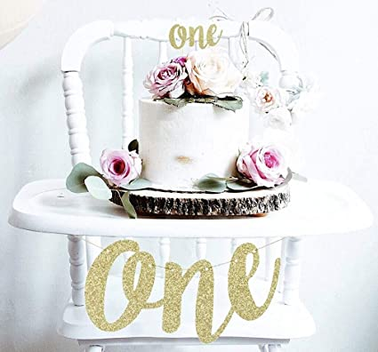 1st First Birthday Decoration Set One High Chair Banner And Cake Topper In Gold Glitter