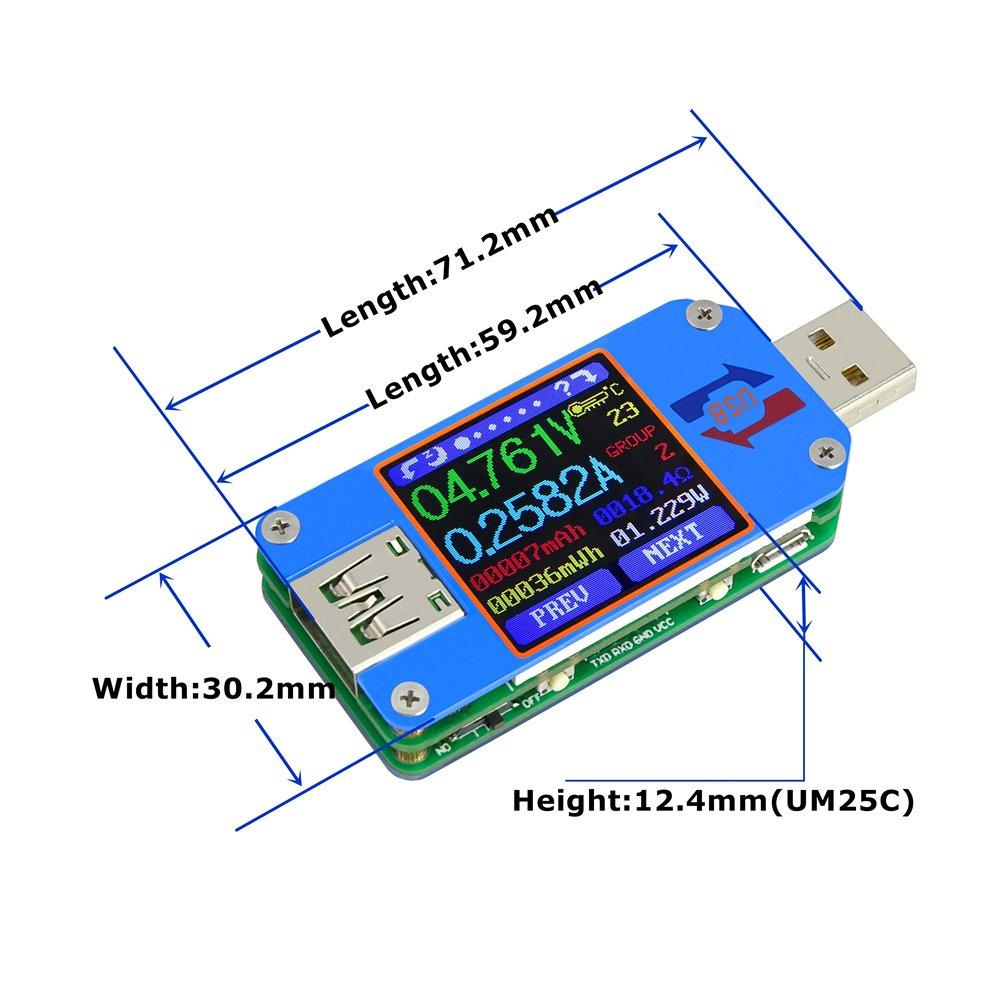 Docooler USB Tester Type-C Farbe LCD Display Tester Spannung Stromz/ähler Voltmeter Amperemeter Batterieladekabel Impedanz Widerstandsmessung Keine Kommunikationsversion