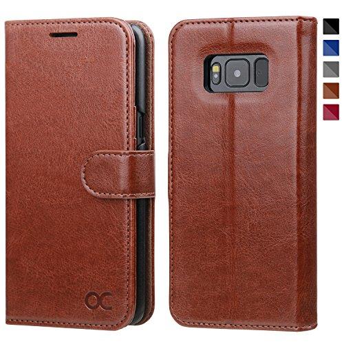 OCASE Samsung Galaxy S8 Case Leather Flip Wallet Case For Samsung Galaxy S8 Devices - Brown (Leather Flip Case)