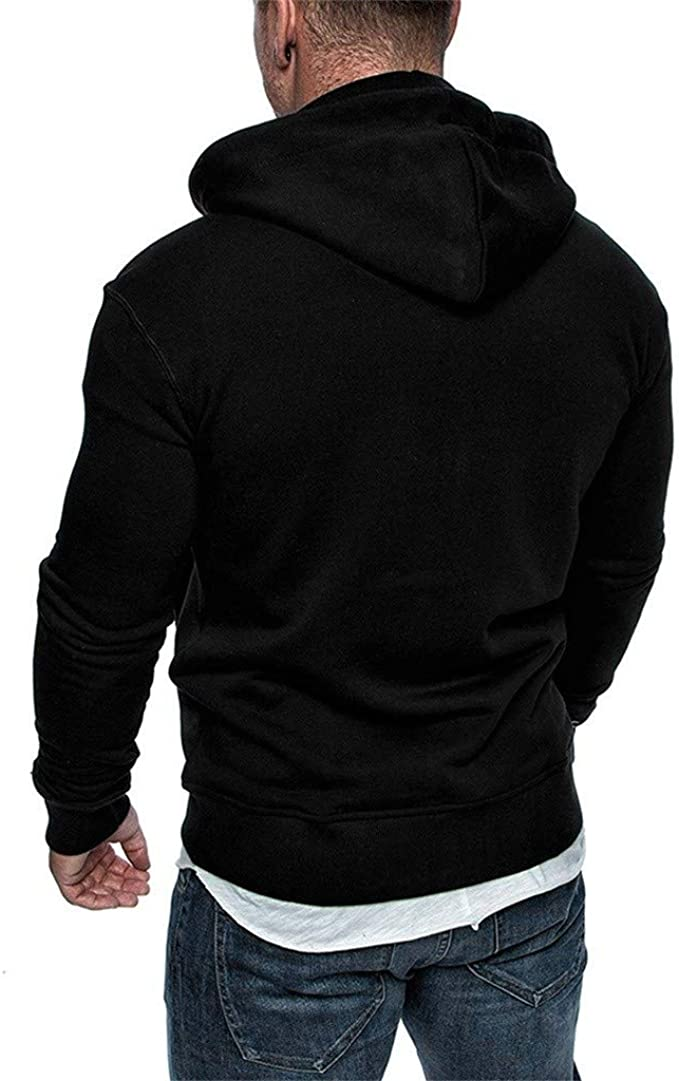 Freely Mens Hooded Plus Size Zip-up Outdoor Lounge Sweater Hoodie Top