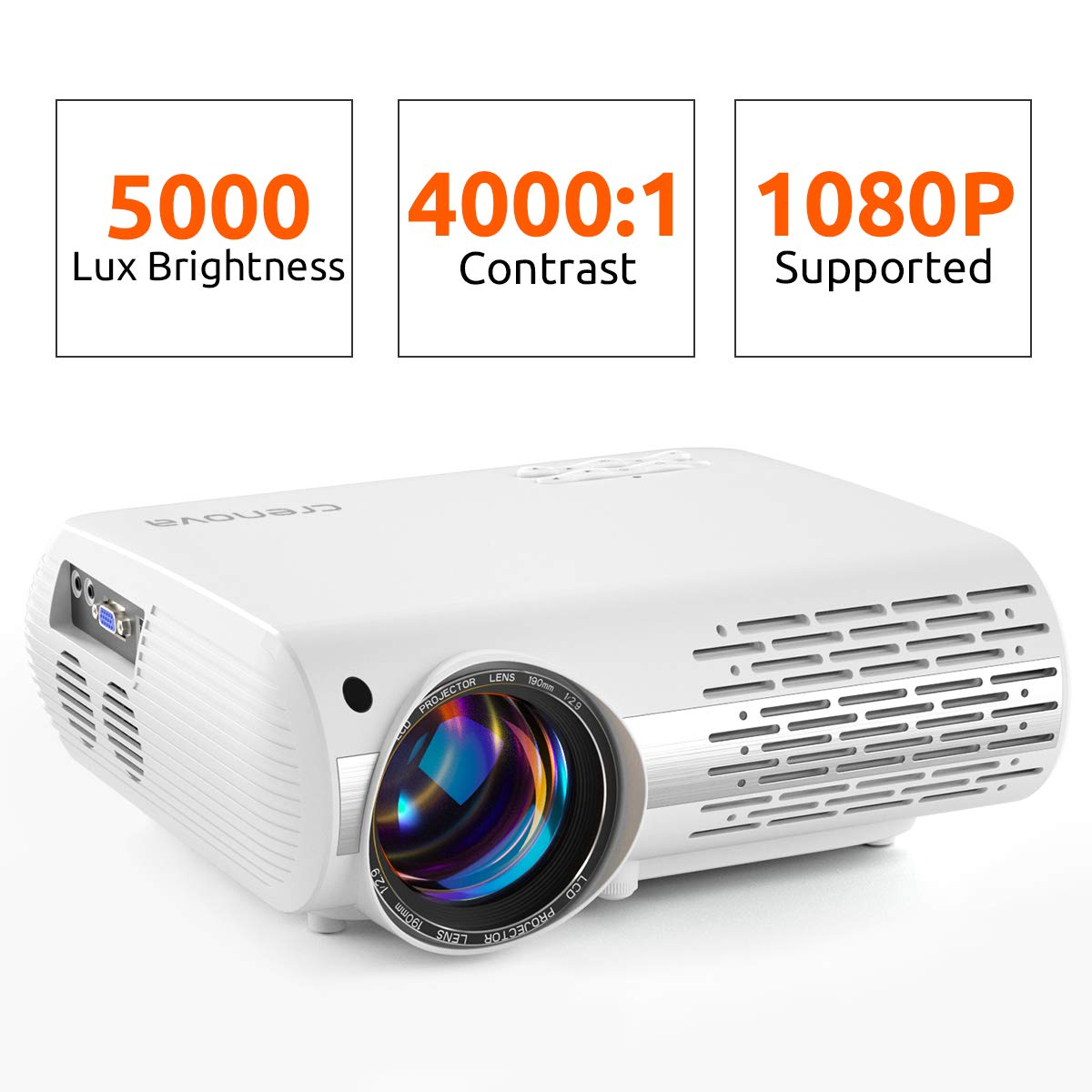 Crenova Video Projector, 5000 Lux Home Movie Projector(550 ANSI), 200'' Display HD LED Projector 1080P Supported, Work with Phone, PC, Mac, TV Stick, PS4, HDMI, USB for Home Theater[2019 Upgraded] by Crenova