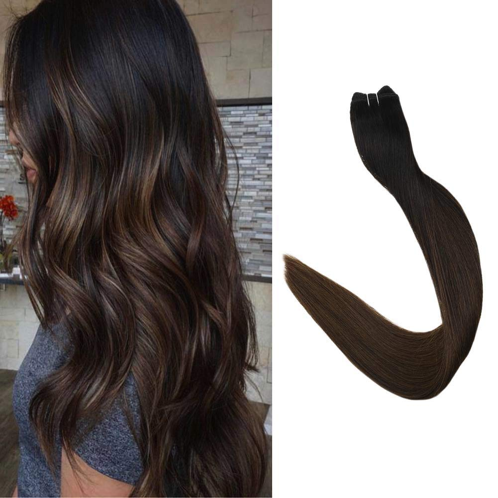 Full Shine 20 inch Real Human Hair Weft Bundle Sew in Hair Extensions Ombre Color #1B Off Black Fading to #4 Dark Brown 100gram Per Package Full Head Hair Extensions Human Hair