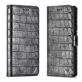 Galaxy Note 9 Wallet Case,Crocodile Series Note 9 Folding Flip Leather Wallet Magnetic Detachable Cover with Kickstand Feature for Samsung Note 9 (Black)