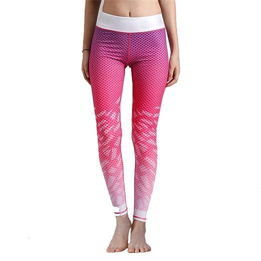 Zgsjbmh Pantalones de Yoga de Color Rosa elástico Fino y ...