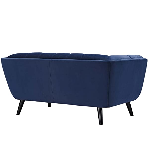 Modway Bestow Upholstered Velvet Fabric Button-Tufted Loveseat In Navy