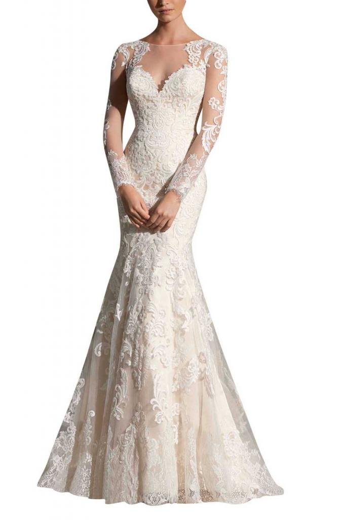 MiLano Bride Grace Illusion Neck Long Sleeves Mermaid Floral Wedding Dresses-12-Light Ivory