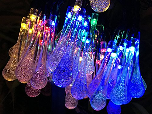 Multi Color Icicle Lights 60 LED 36ft, Satu Brown 11M Raindrop Outdoor Garden Solar Fairy Lights Water drop String lighting Valentines Decorations for Patio Tree, Christmas Party