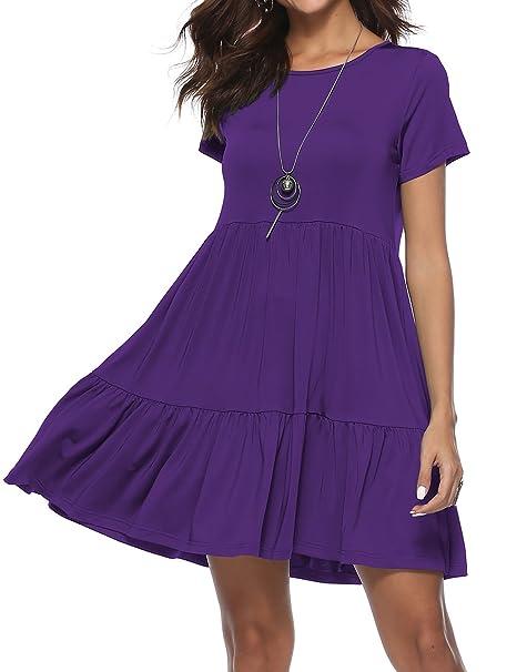 Women Summer Short Sleeve Ruffle Plain Beach Tunic Loose Swing Casual T Shirt  Dress Sun Dress b57704b3a