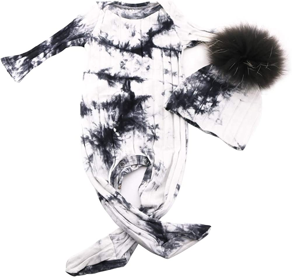 GZHilovingL Baby Long Sleeves Cotton Ribbed Bodysuits with Real Fur Pompom hat