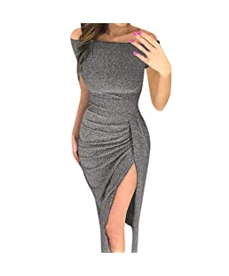 Women Sexy Sequin Bodycon Jumper Stretchy Split Daily mini dress Hevoiok Elegant Short sleeve Off Shoulder Cocktail Evening Party Prom Dresses (Grey, XL)