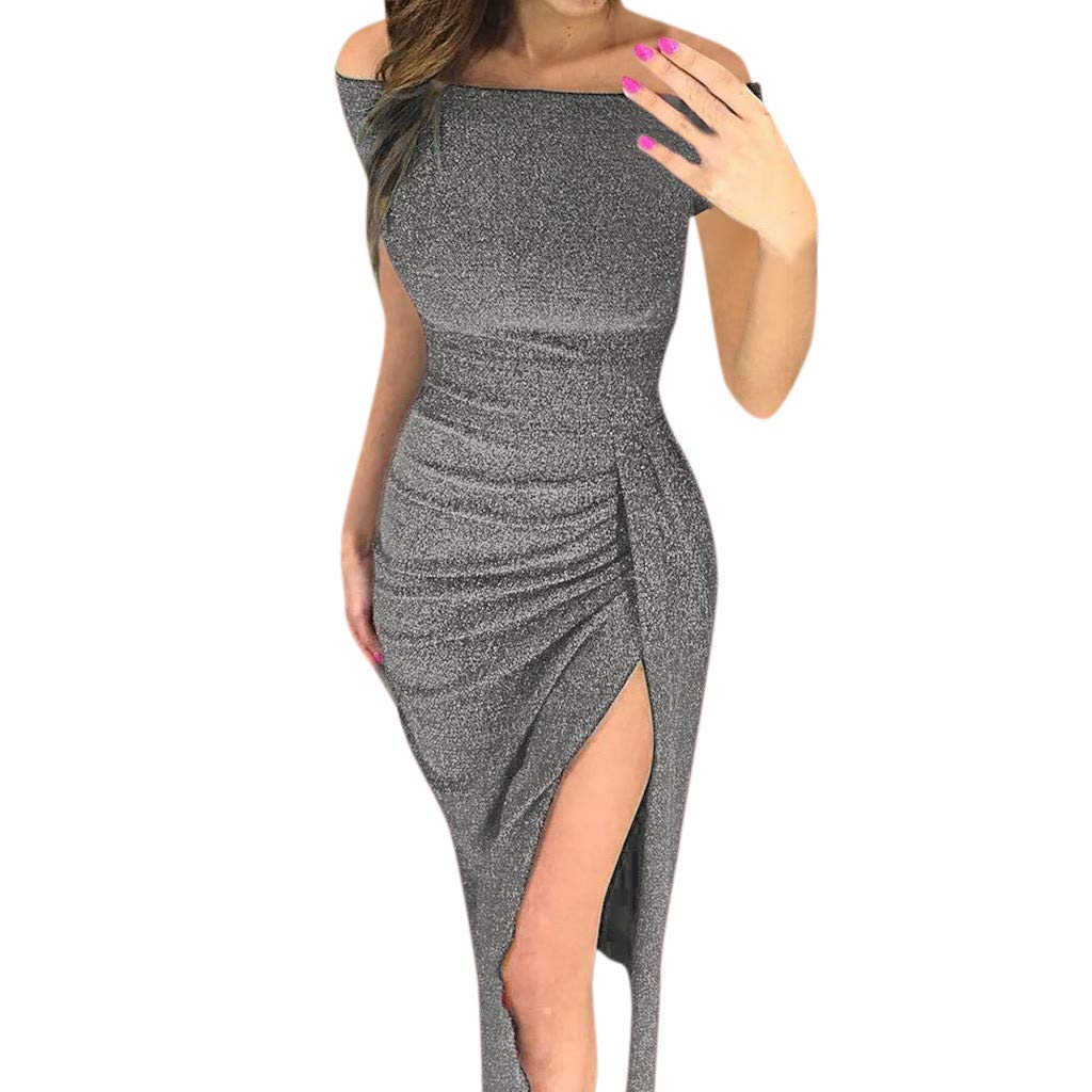 Winsummer Women Off Shoulder Ruched High Slit Metallic Glitter Evening Party Dress Elegant Cocktail Bodycon Midi Dresses